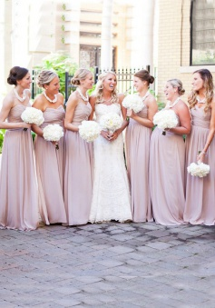 Elegant A-line Sweetheart Ruched Chiffon Long Bridesmaid Dress