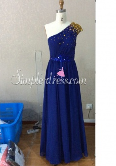 Elegant Floor-length One-shoulder Royal Blue Chiffon Bridesmaid Dress with  Sequins