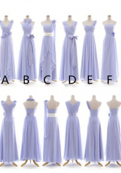 Elegant A-line Lavender Long Chiffon Bridesmaid Dress CHBD-7128