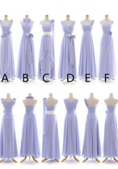 Elegant A-line Lavender Long Chiffon Bridesmaid Dress CHBD-7128
