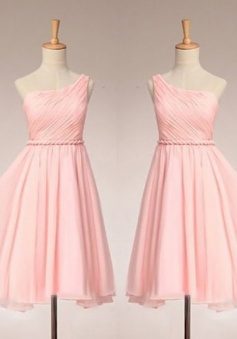 Simple Dress Elegant One-shoulder Ruched Pink Chiffon Bridesmaid Dresses, Wedding Reception Dresses  CHBD-7131