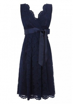 Simple Dress V-neck Navy Lace Sash Bridesmaid Dresses/Party Dresses   LABD-7177