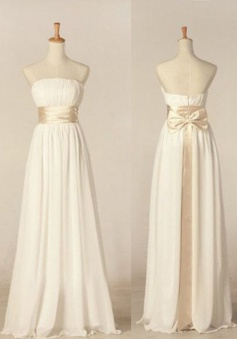 Elegant A-line Strapless Floor Length Ribbon Chiffon Bridesmaid Dress