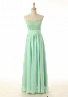 Elegant A-line Sweetheart Floor Length Zipper-up Chiffon Bridesmaid Dress