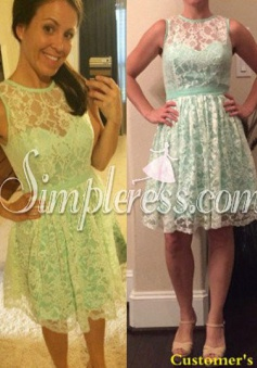 New Arrival Short Knee-length Mint Lace Bridesmaid Dress