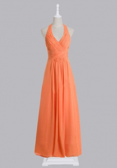 Fashion V-neck Ruched Chiffon Long Bridesmaid Dress