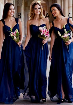 A-Line Sweetheart Floor-Length Dark Blue Chiffon Bridesmaid Dress