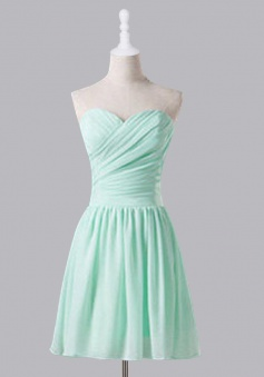 Simple Mint Green Sweetheart Ruffles A Line  Knee Length Chiffon Bridesmaid Dress