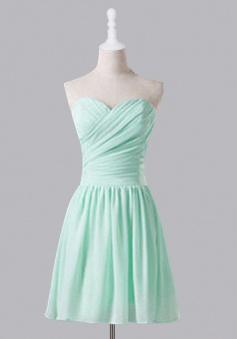 Simple Mint Green Sweetheart Ruffles A Line  Knee Length Chiffon Bridesmaid Dress