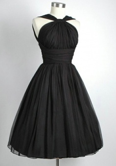 Simple Dress Knee Length Black Chiffon Vintage Bridesmaid Dresses CHBD-7129