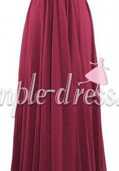 Elegant Strapless Long Chiffon Cheap Bridesmaid Dress