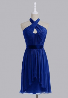 Hot-selling Halter High-low Short Chiffon Bridesmaid Dress