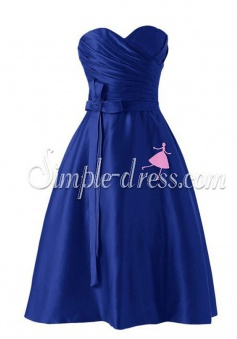 Elegant Sweetheart A-line Short Satin Royal Blue Bridesmaid Dress