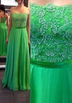 Elegant Strapless Green Lace Bridesmaid Dress/Evening Dress