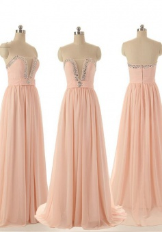 Modern A-line Long Peach Sweetheart Chiffon bridesmaid Dress