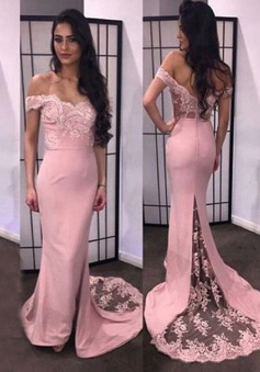 Gorgeous Mermaid Off-the-shoulder Long Prom Dress with Train