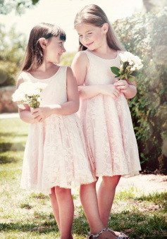 Cheap A-line Scoop Knee-Length Lace Flowergirl Dresses LAFGD-60446