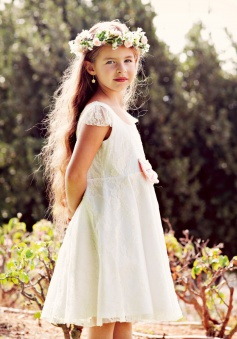 Cheap A-line Scoop Knee-Length Lace Flowergirl Dresses LAFGD-60448