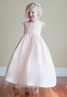 New Arrival Princess Scoop Ankle-Length Satin Flowergirl Dress