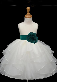 Simple Scoop Ball Gown Organza Sash Flower Girl Dress