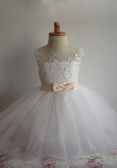 Fashion Ball Gown Sash Tulle Beading Flower Girl Dress