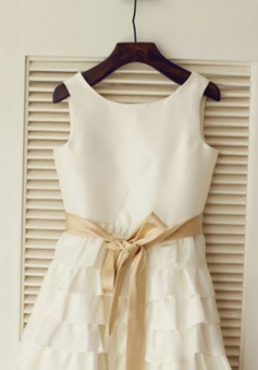 Simple A-line Scoop Sleeveless Sash Ruffles Flower Girl Dress