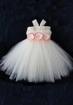 Lovely Ball Gown Zipper-up Tulle Short Flower Girl Dress TUFGD-8117