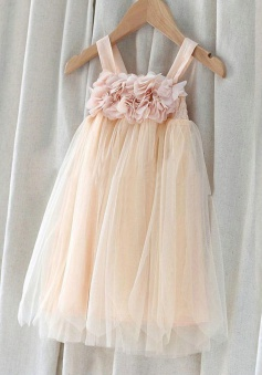 A-line Spaghetti Straps Tulle Flower Girl Dress