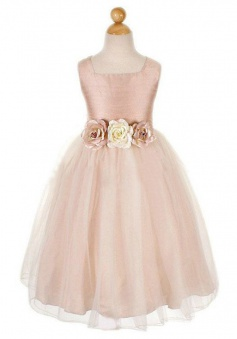 Simple A-line Square Tulle Flowers Sleeveless Flower Girl Dress