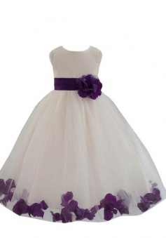 Wedding Pageant Flower Petals Girl Ivory Dress with Bow Tie Sash FGD-81301