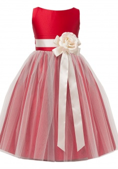 Sweet Kids Little Girls' Vintage Style Satin and Tulle Flower Girl Pageant Dress FGD-81303