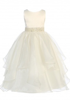 Girls Chic Baby Asymmetric Ruffles Satin Organza Flower Girl Dress FGD-81305