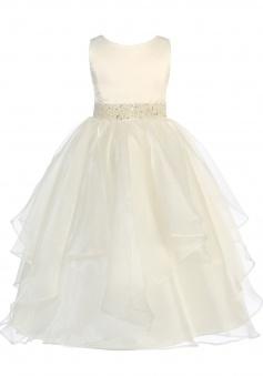 Girls Chic Baby Asymmetric Ruffles Satin Organza Flower Girl Dress FGD-81305