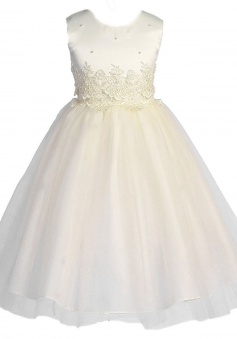 KID Collection Girls' Cinderella Tulle Appliques Flower Girl Dress FGD-81306