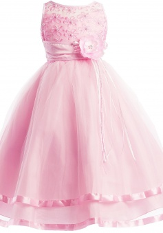 Communion Flower Girl Pageant Illusion Ribbon Tulle Dress FGD-81308