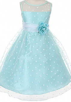 A-line Kids Dream Girls Organza Polka Dot Special Occasion Dress/Flower Girl Dress FGD-81310