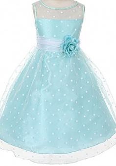 A-line Kids Dream Girls Organza Polka Dot Special Occasion Dress/Flower Girl Dress FGD-81310
