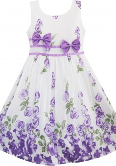 Sunny Fashion Girls Dress Purple Rose Flower Double Bow Tie Party Sundress FGD-81311