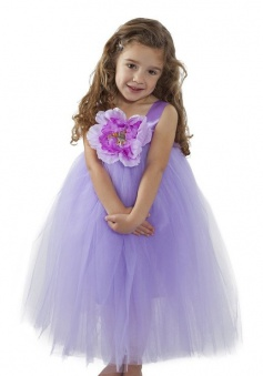 A-line Purple Satin Straps Tulle Flower Girl Dress with Flower FGD-81312