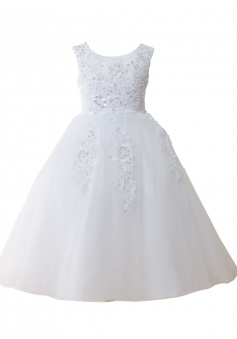 Cute White Tull Flower Girl Ball Gown With Sequins