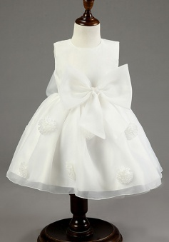 Simple Jewel Sleeveless Short White Organza Flower Girl Dress with Bowknot Handmade Flowers