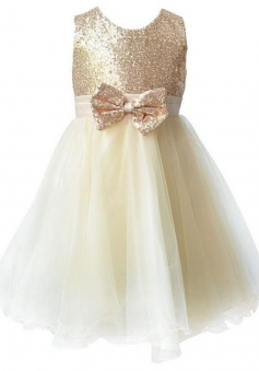 Cute Jewel Sleeveless Knee-Length Champagne Flower Girl Dress Sequined with Bowknot Sash