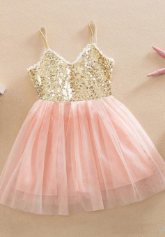 Cute V-neck Spaghetti Straps Pink Sequined Flower Girl Dress