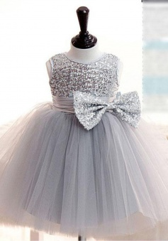 Hot Sale Jewel Sleeveless Short Grey Flower Girl Dress with Sequins Bowknot