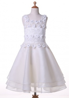 A-line Square Sleeveless Knee-Length White Chiffon Flower Girl Dress with Beading Lace