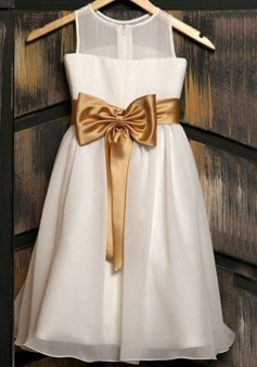 Cute Jewel Sleeveless Knee-Length White Flower Girl Dress with Gold Bow