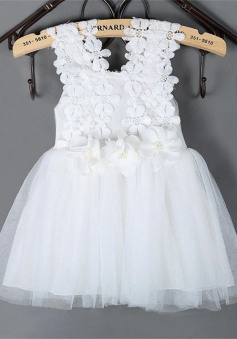 Cute Square Sleeveless Short White/Pink Flower Girl Dress with Lace Handmade Flowers