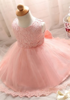 Cute Jewel Sleeveless Short Pink Lace Flower Girl Dress with Bowknot