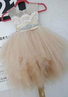 Cute Round Neck Sleeveless Short Ivory Flower Girl Dress with Lace Beading Pleats
