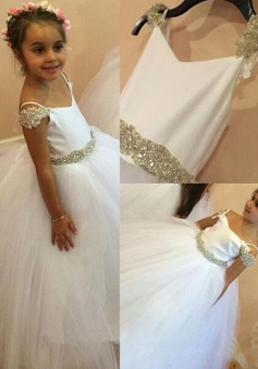 Modern Spaghetti Straps Long White Ball Gown Flower Girl Dress with Beading